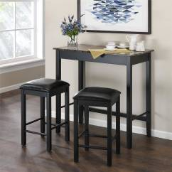 3 Piece Table And Chair Set Covers Easingwold Dorel Living Devyn Faux Marble Pub Dining Black Walmart Com