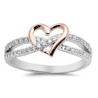 Rose Gold-Tone Heart Promise Ring ( Sizes 4 5 6 7 8 9 10 ...