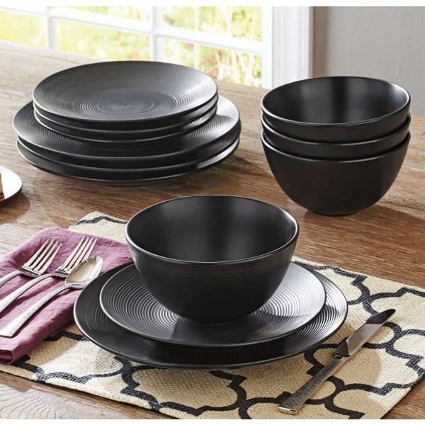 Homes & Gardens Matte Swirl 12-piece Dinnerware Set Black