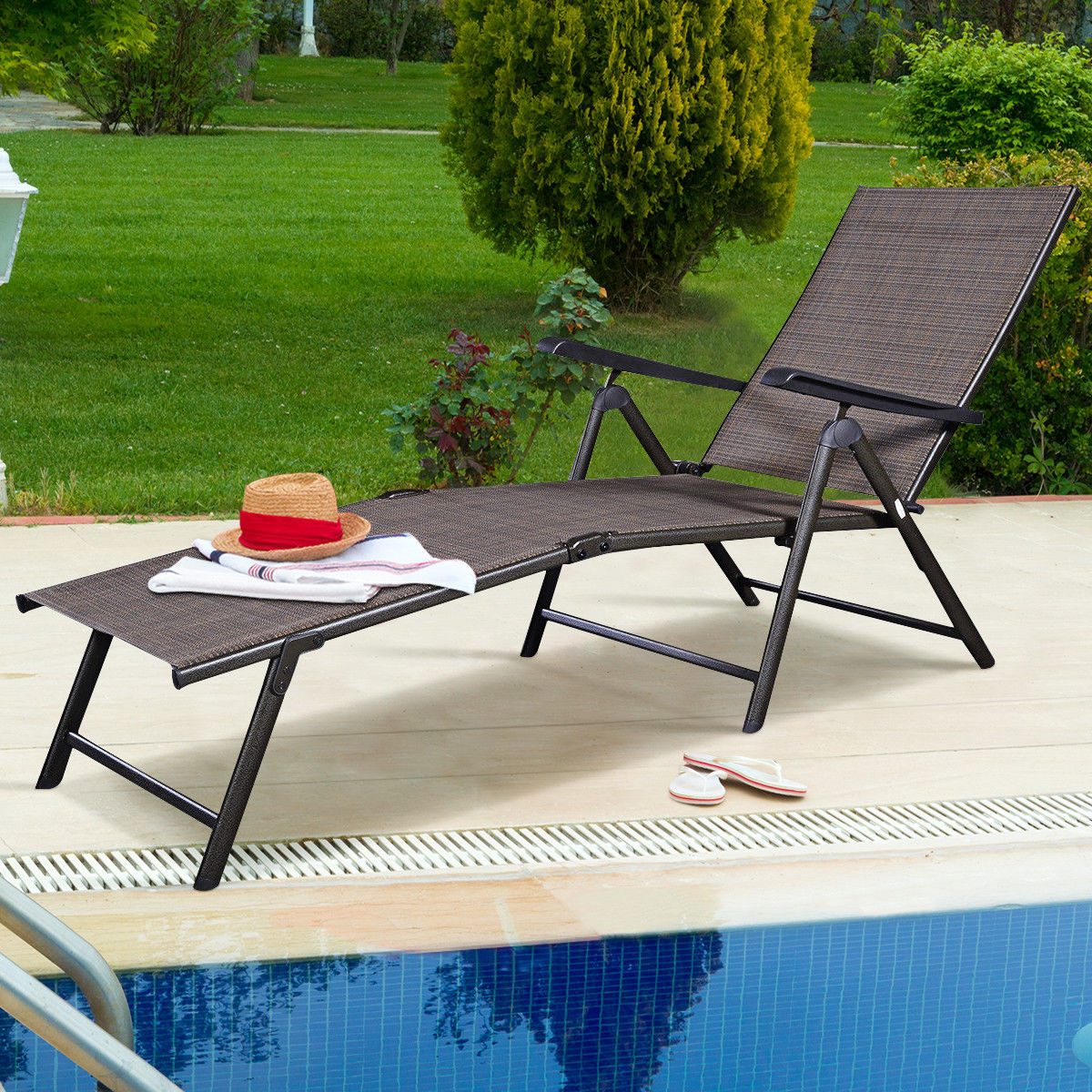costway pool chaise lounge chair recliner outdoor patio furniture adjustable