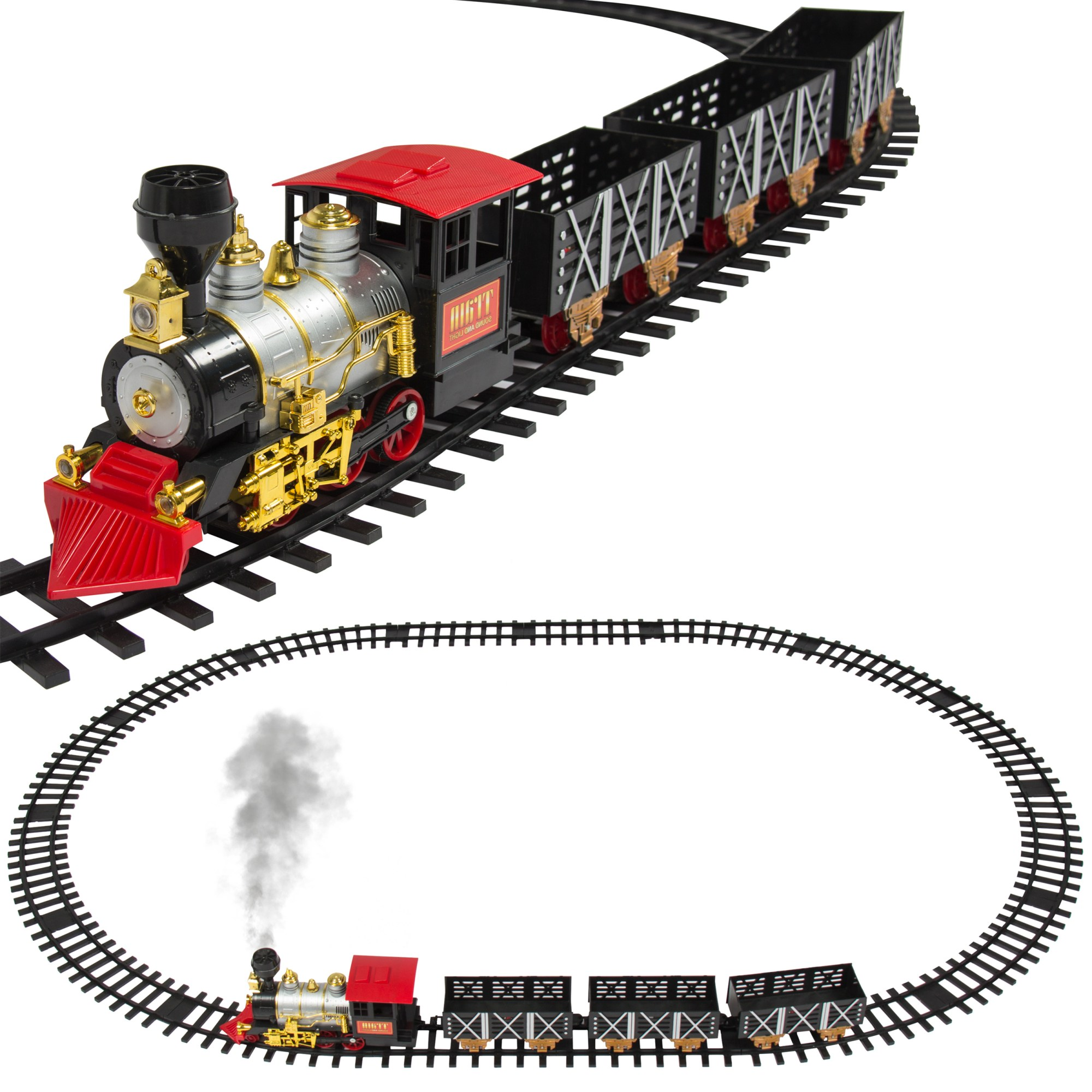 hight resolution of best choice products classic train set for kids with real smoke music and lights battery operated railway car set