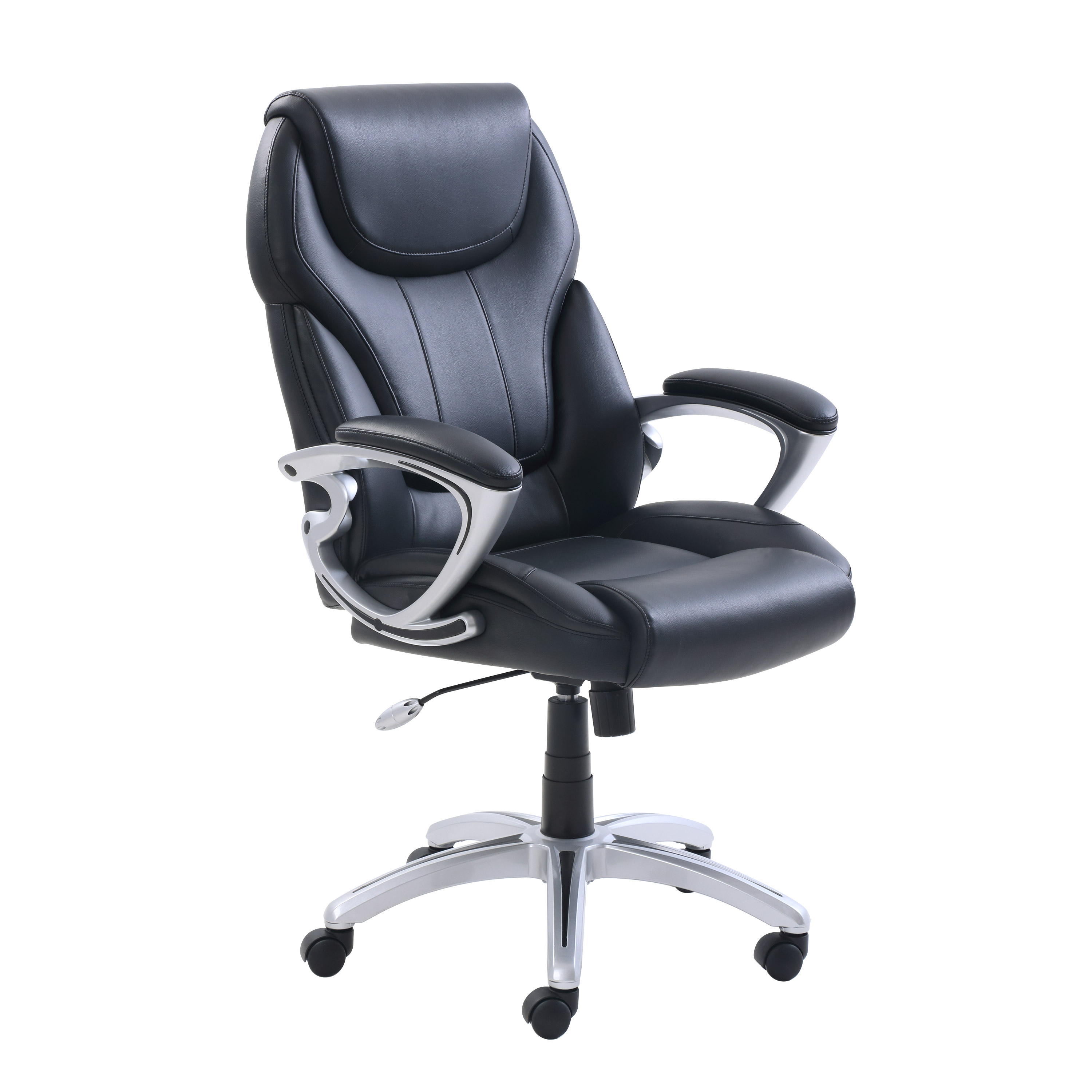 true innovations office chair high stand bonded leather managers black upholstery walmart com