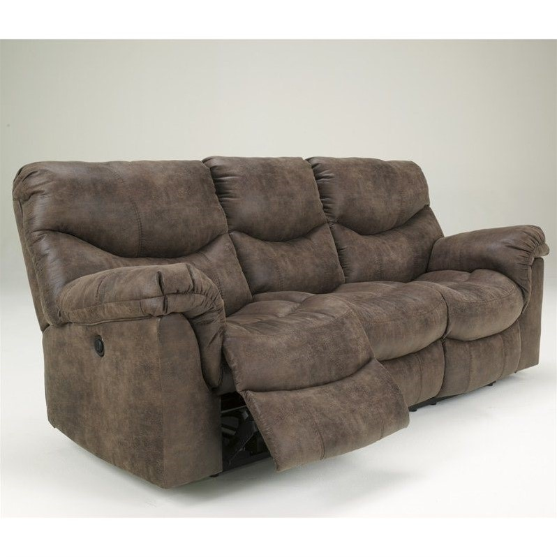 ashley furniture alzena power reclining sofa in gunsmoke