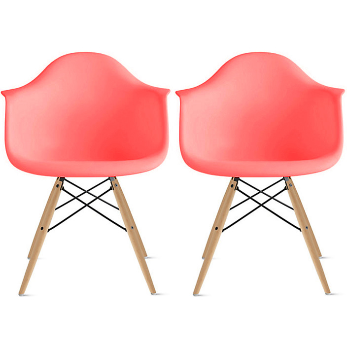 mid century modern plastic chairs pier one round chair 2xhome set of 2 pink dining molded arms armchairs natural wood legs desk no wheels accent vintage designer for small