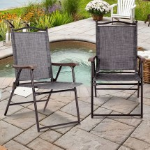 Gymax Set Of 2 Folding Patio Furniture Sling Chairs