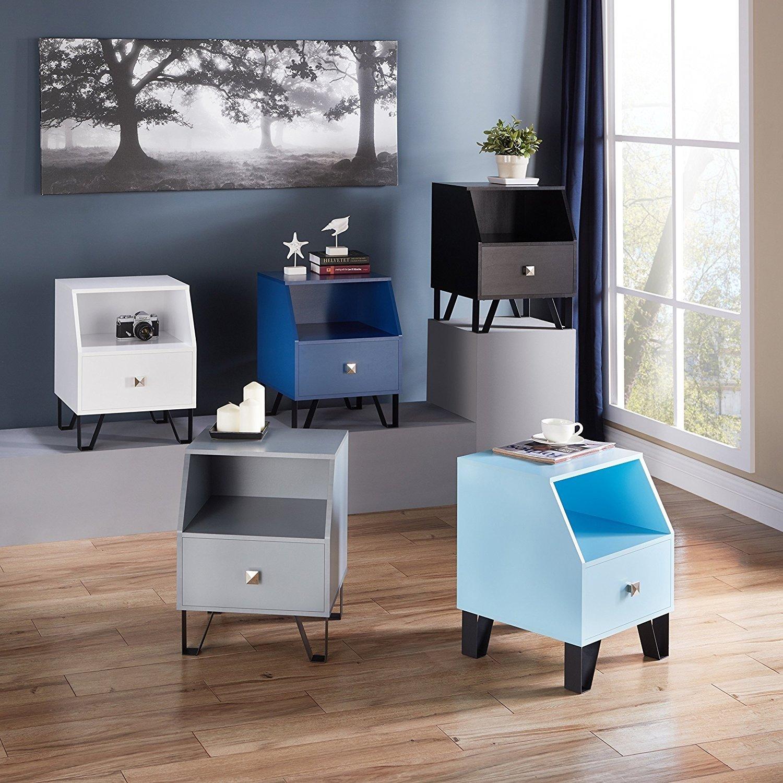 Furniture Of America Kara Contemporary 1 Drawer Side Table Baby Blue Blue Finish Walmart Com Walmart Com