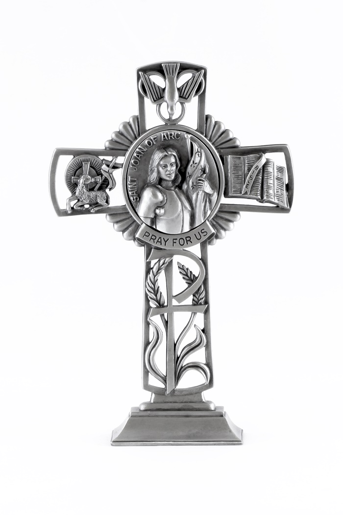 Jeweled Cross Pewter Catholic Saint St Joan of Arc Pray