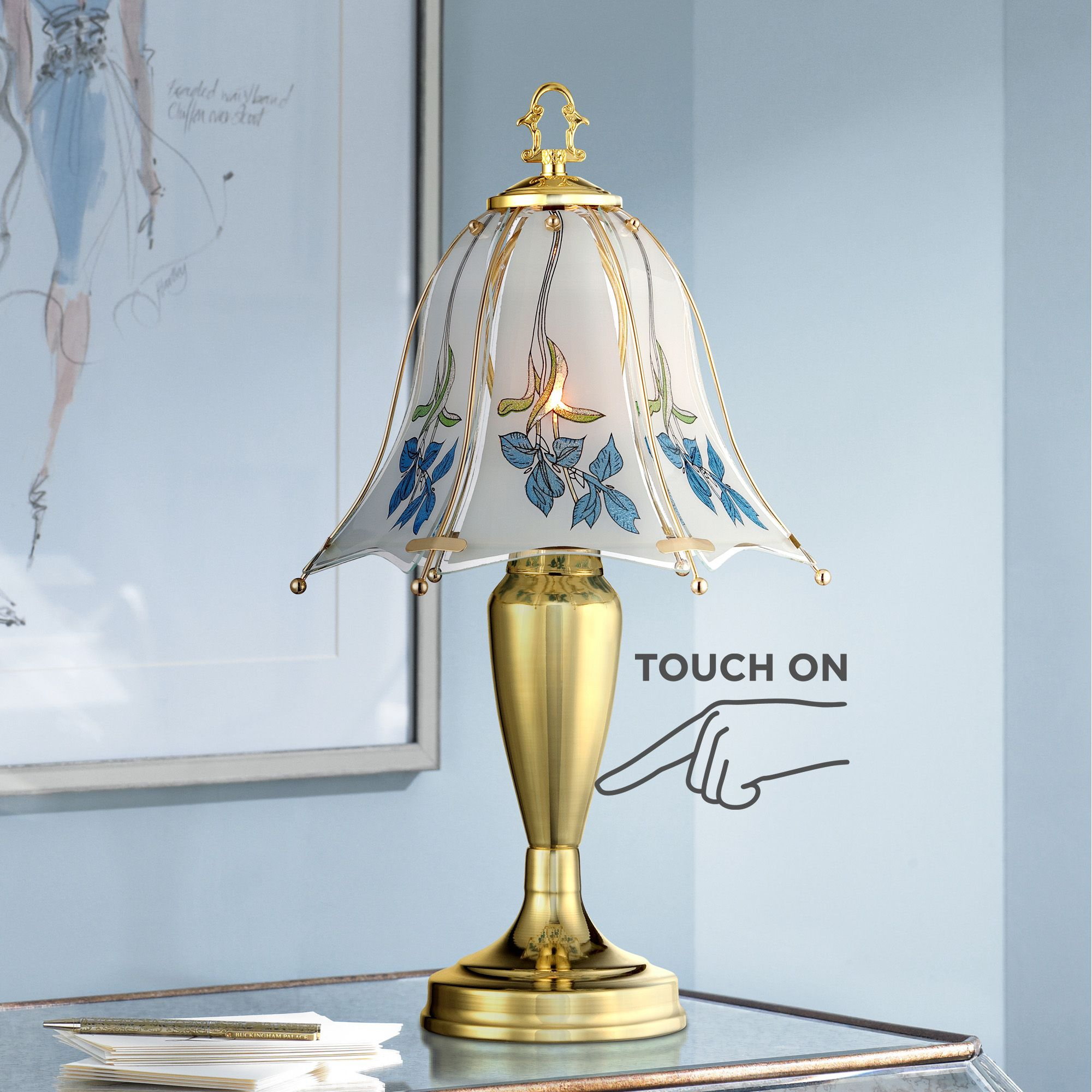 traditional accent table lamp brass