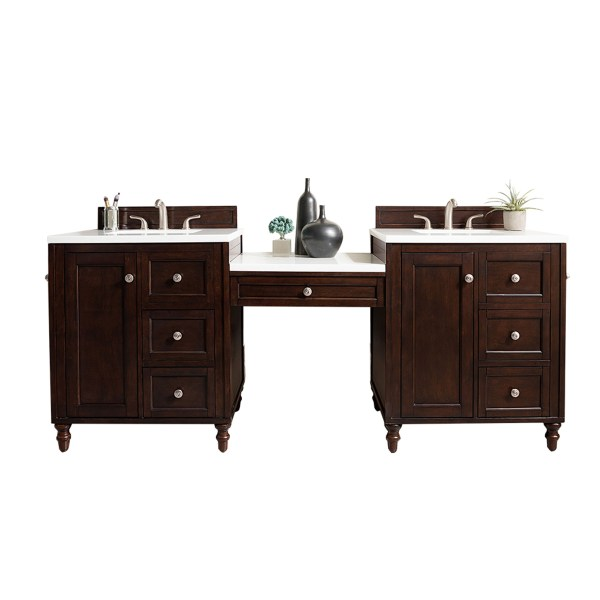 "86"" Double Vanity Set Burnished Mahogany Makeup Table 3cm"