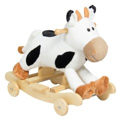 Animal Rocking Chair Little Tike Table And Chairs Best Choice Products Kids Ride On Plush Cow Rocker W Wheels Children Toy White Black Walmart Com