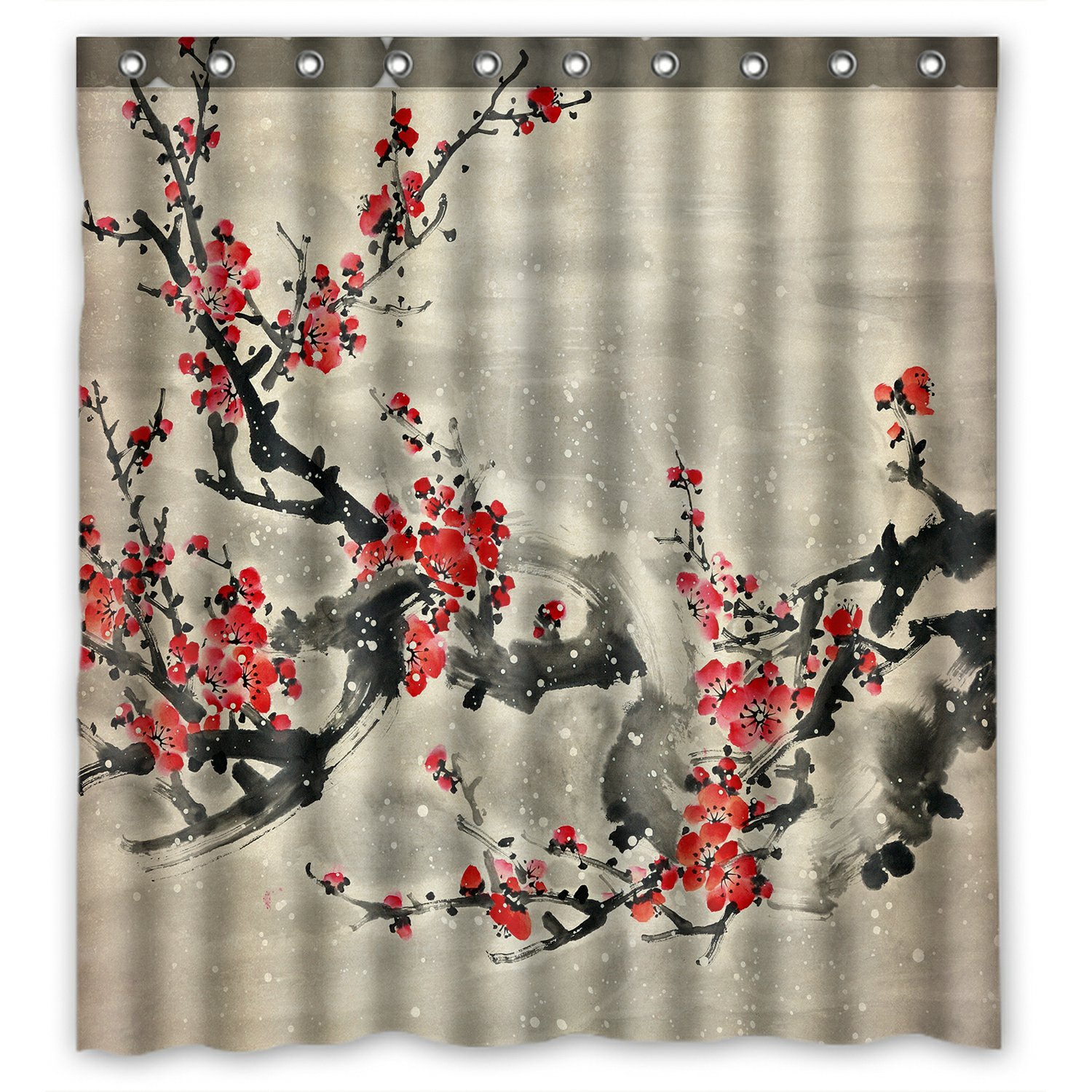 phfzk asian shower curtain plum blossom traditional chinese painting polyester fabric bathroom shower curtain 66x72 inches walmart com