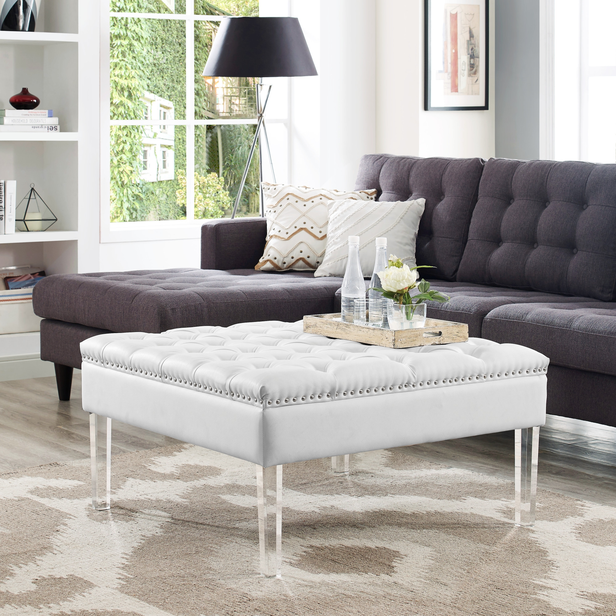 inspired home giulia cream faux leather ottoman cocktail coffee table square tufted cream white
