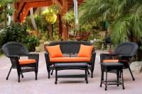 5-Piece Black Resin Wicker Patio Chair, Loveseat & Table ...