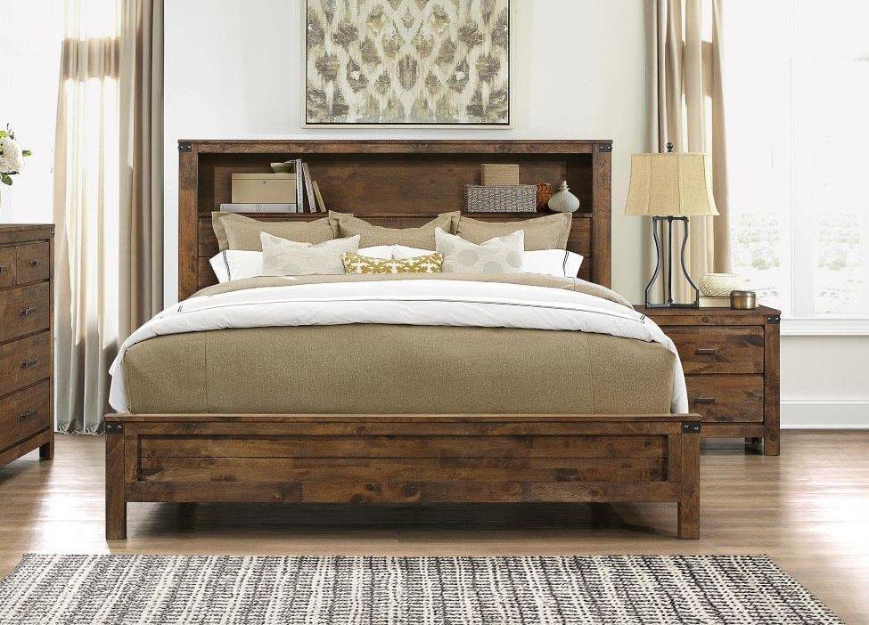 rustic oak finish queen size bedroom set 3pcs victoria global usa