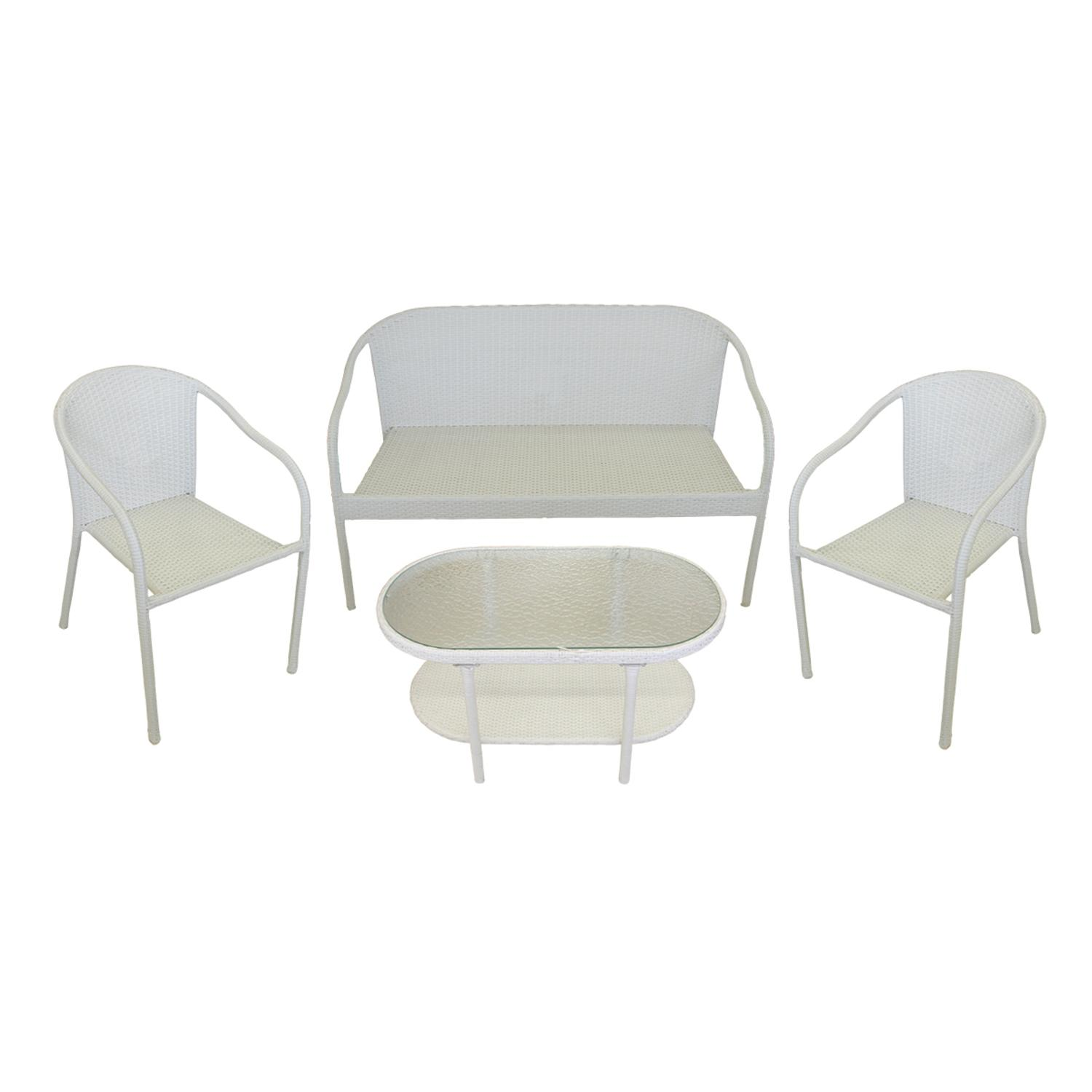 Resin Chairs 4 Piece White Resin Wicker Patio Furniture Set Loveseat 2 Chairs Glass Top Table