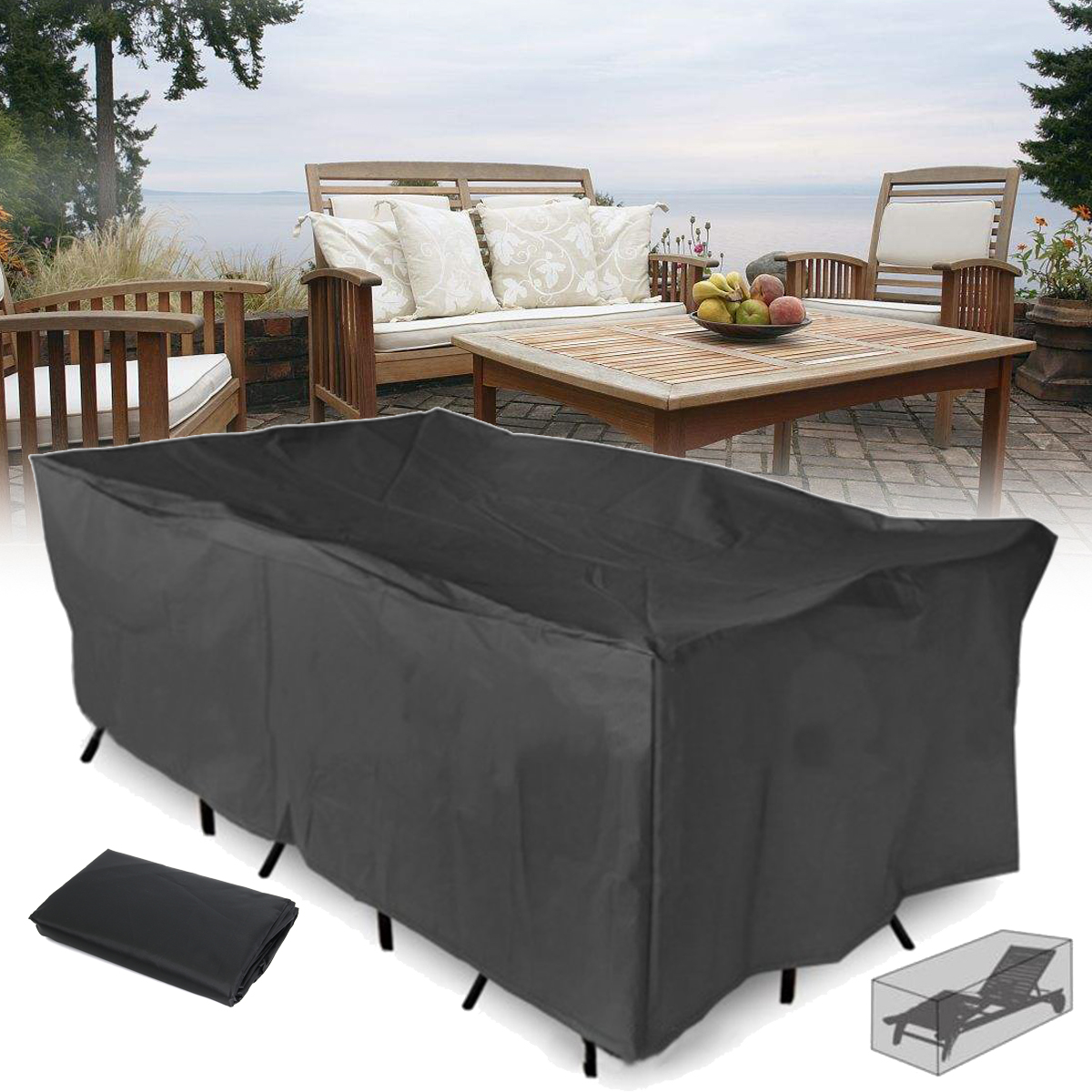 outdoor patio furniture cover extra large rectangular table chair furniture set covers waterproof windproof tear resistant uv protection fits 4 10