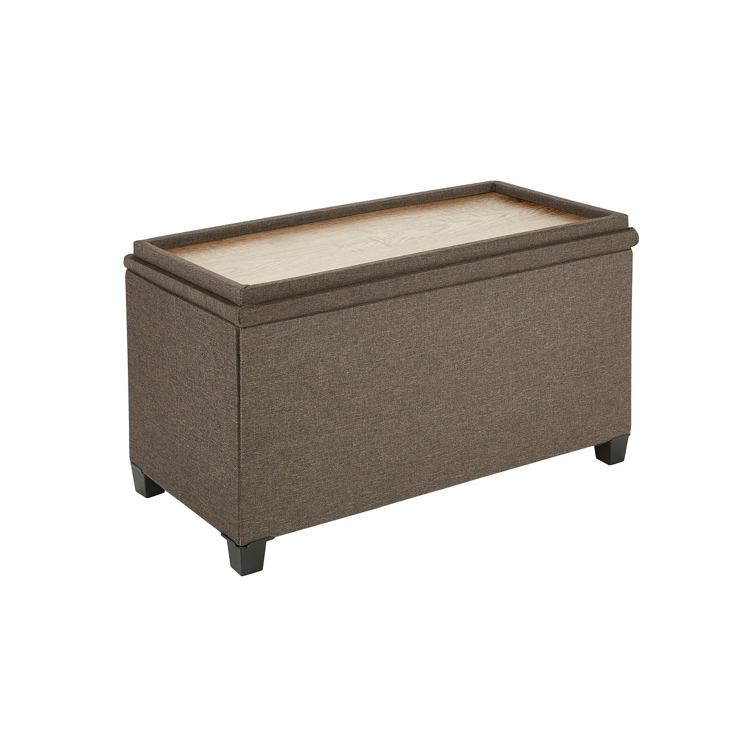 fresh home elements storage bench premium wood tray and feet rich linen upholstery brown light grey