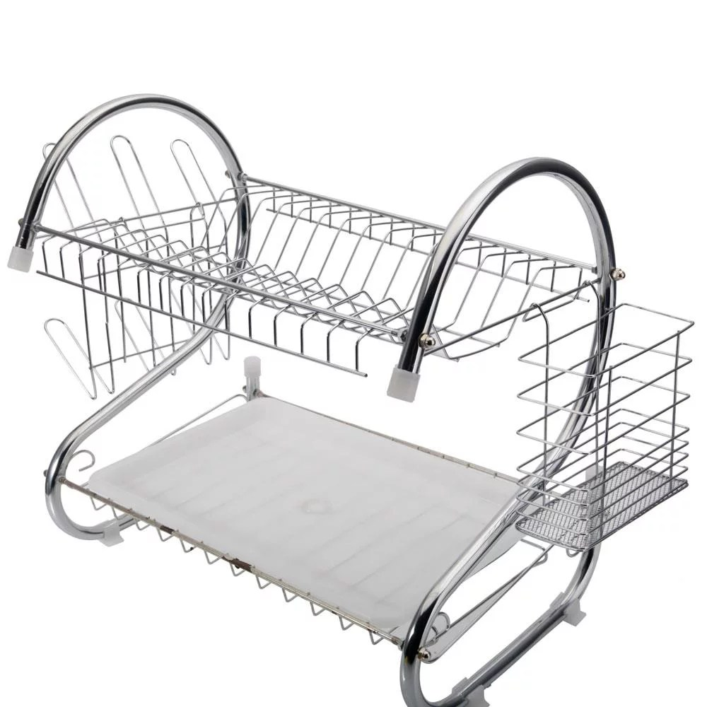 kitchen stainless steel dish cup drying rack holder 2 tier dish rack sink drainer
