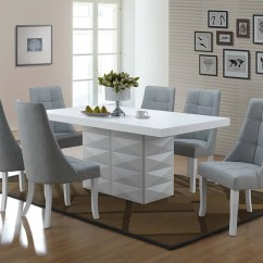 Blue And White Dining Chairs 10 Chair Table Lexie 7 Piece Set Wood Vinyl Contemporary 71