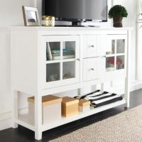 WE Furniture 52-inch White Wood Console Table/ Buffet ...