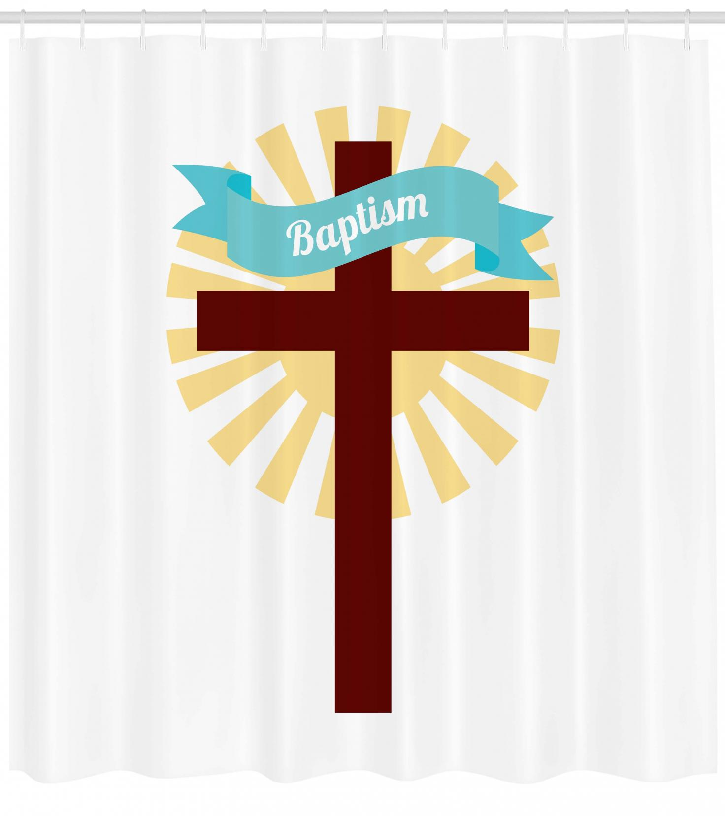 Religious Shower Curtain Sign on Ribbon Motif Ritual