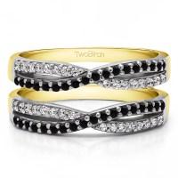 TwoBirch - TwoBirch Criss Cross Wedding Ring Guard In ...