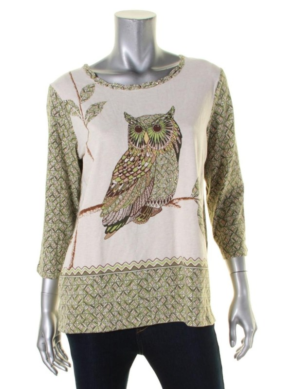 Alfred Dunner - Womens Printed Studded Knit Top