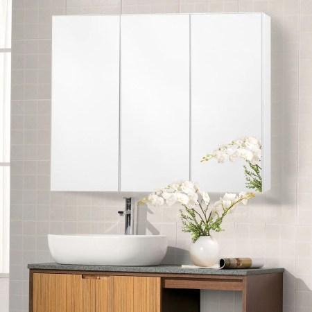 costway 36'' wide wall mount mirrored bathroom medicine cabinet