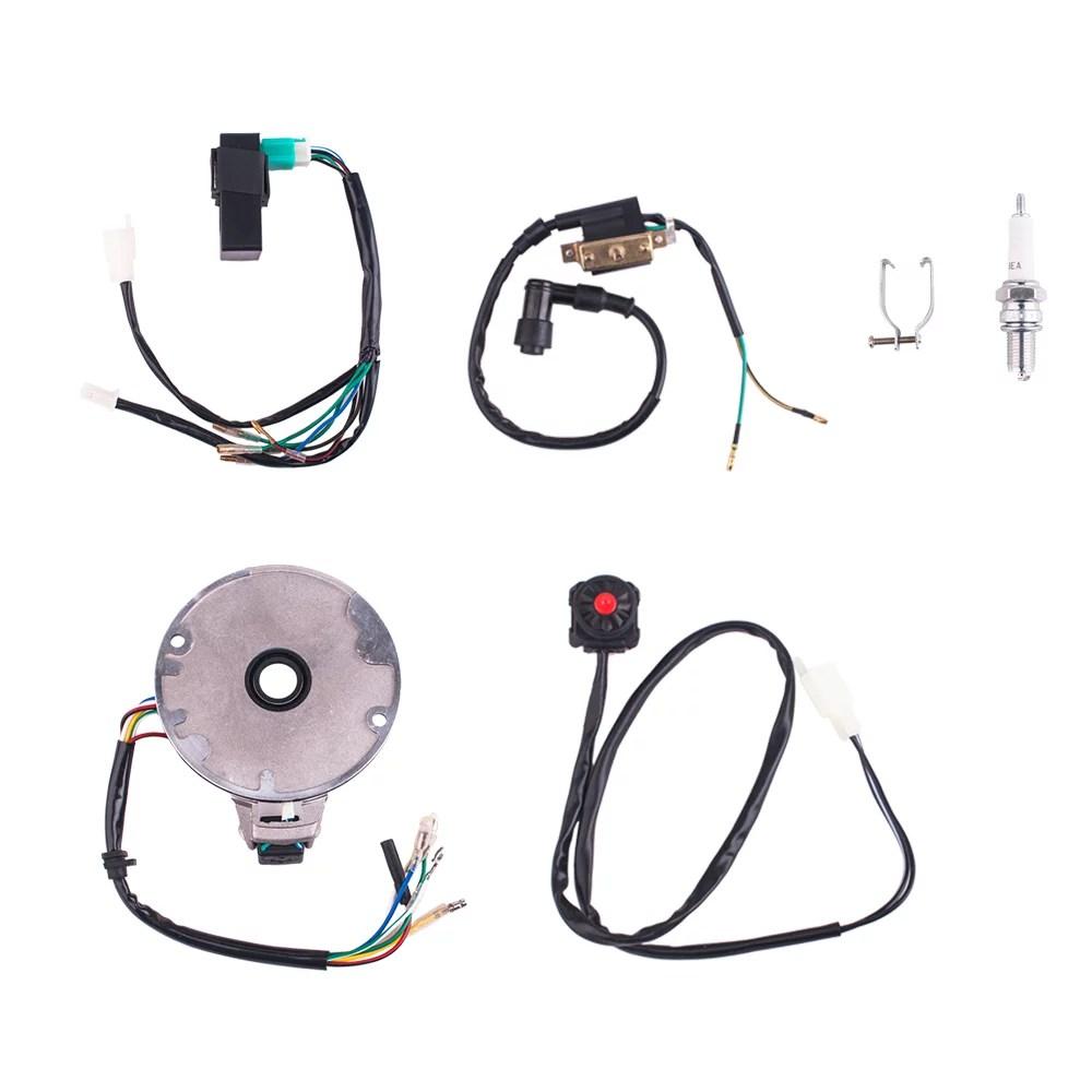 medium resolution of 50 125cc kick start dirt pit bike wire harness wiring loom cdi coil