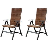 Folding Reclining Patio Chair with High Back, White Frame ...