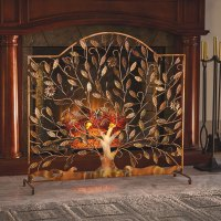 Flowering Tree Decorative Copper Finish Fireplace Screen ...