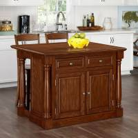 Home Styles Monarch Oak Kitchen Island and 2 Stools ...