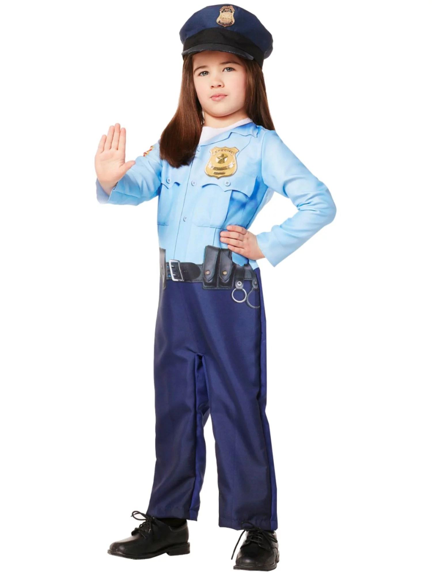 Infant Amp Toddler Girls Blue Police Officer Jumpsuit Amp Hat