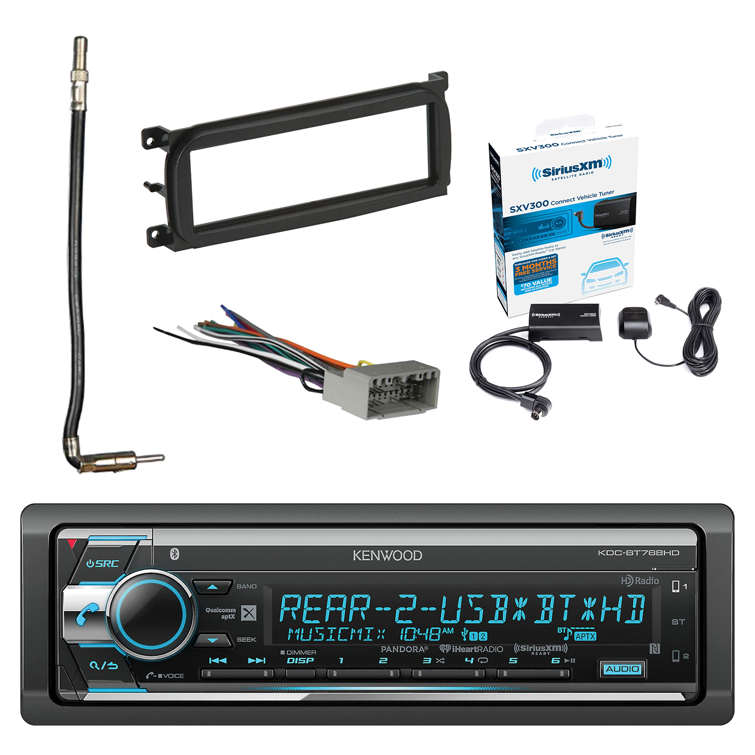 hight resolution of kenwood single din cd am fm car audio receiver w bluetooth with siriusxm satellite radio connect vehicle tuner kit metra dash kit for chry dodge jeep