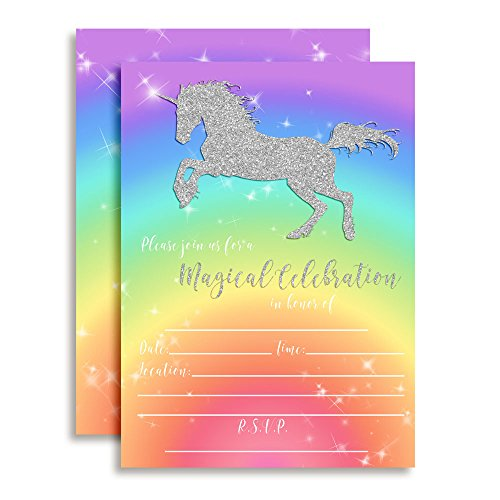 rainbow glitter unicorn birthday party invitations for girls 20 5 x7 fill in cards with twenty white envelopes by amandacreation