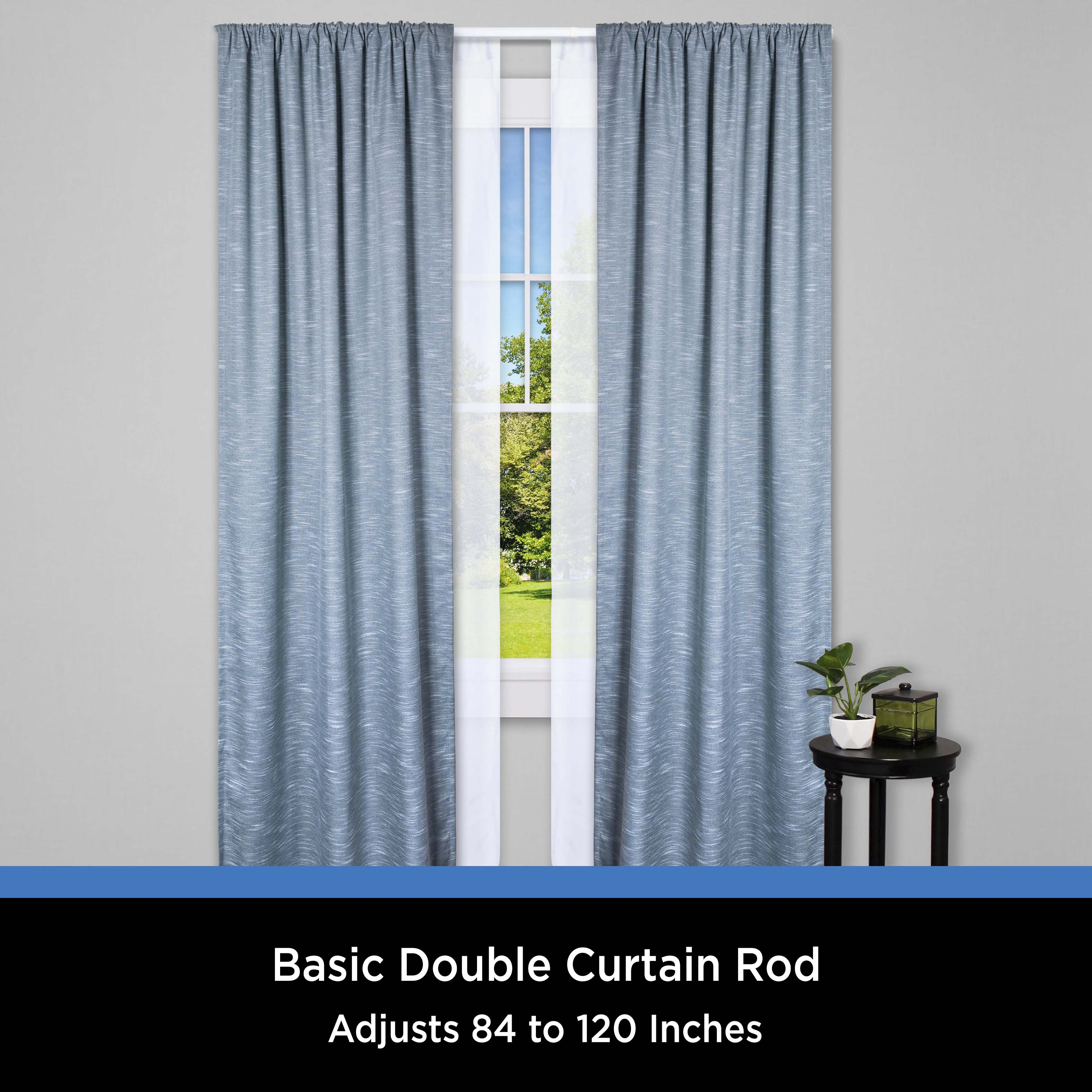 mainstays 84 120 in basic adjustable double curtain rod 2 3 in clearance