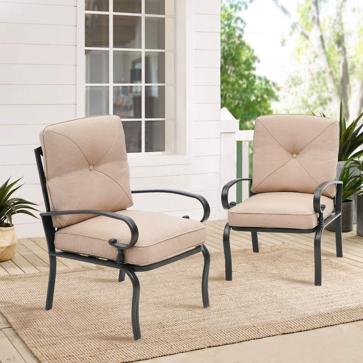 suncrown patio chairs metal dining chair outdoor black wrought iron bistro sets with brown patio furniture cushions set of 2 walmart com