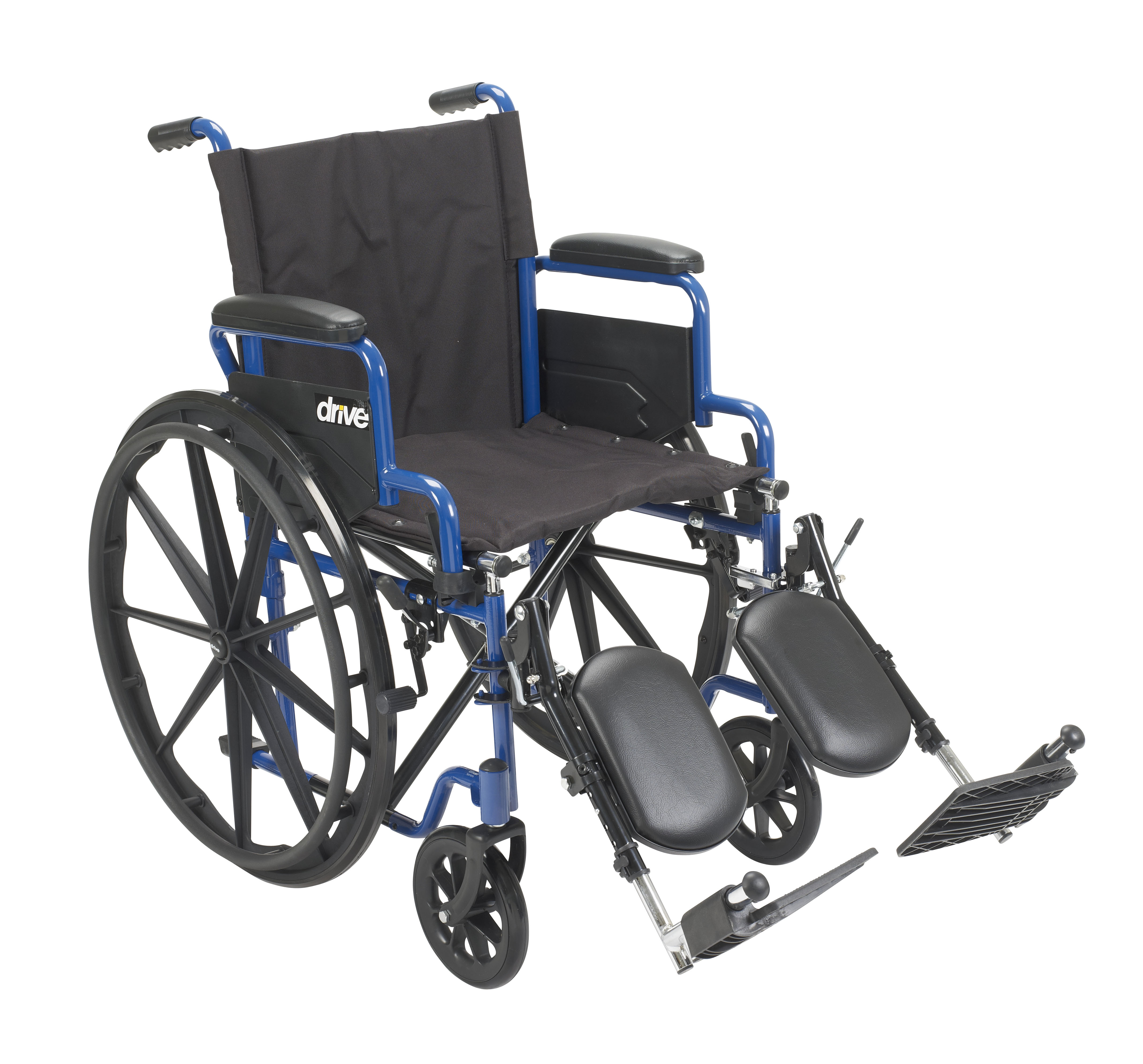 drive wheel chair heated lumbar support for office medical blue streak wheelchair with flip back desk arms elevating leg rests 18 seat walmart com