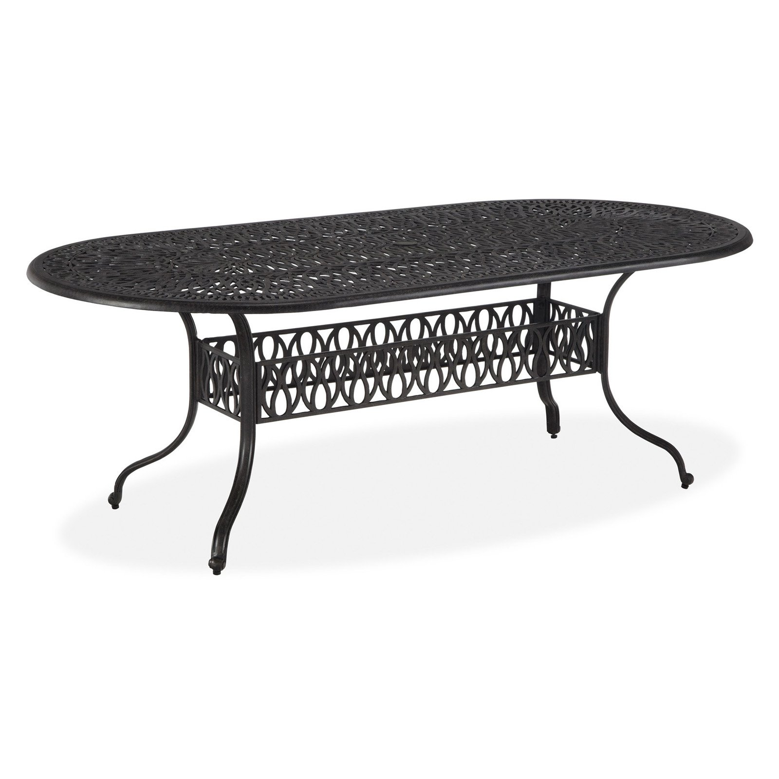 home styles floral blossom oval outdoor dining table cast aluminum charcoal finish