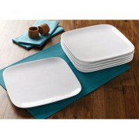 Better Homes and Gardens Soft Square Dinner Plates, White ...