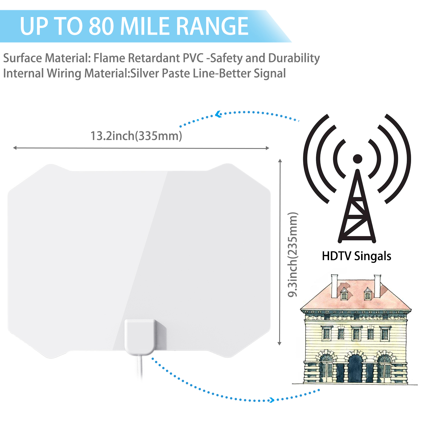 hight resolution of cshidworld upgraded hd digital tv antenna kit 60 80 miles long range high definition with hdtv amplifier signal booster for indoor amplified 10ft coax