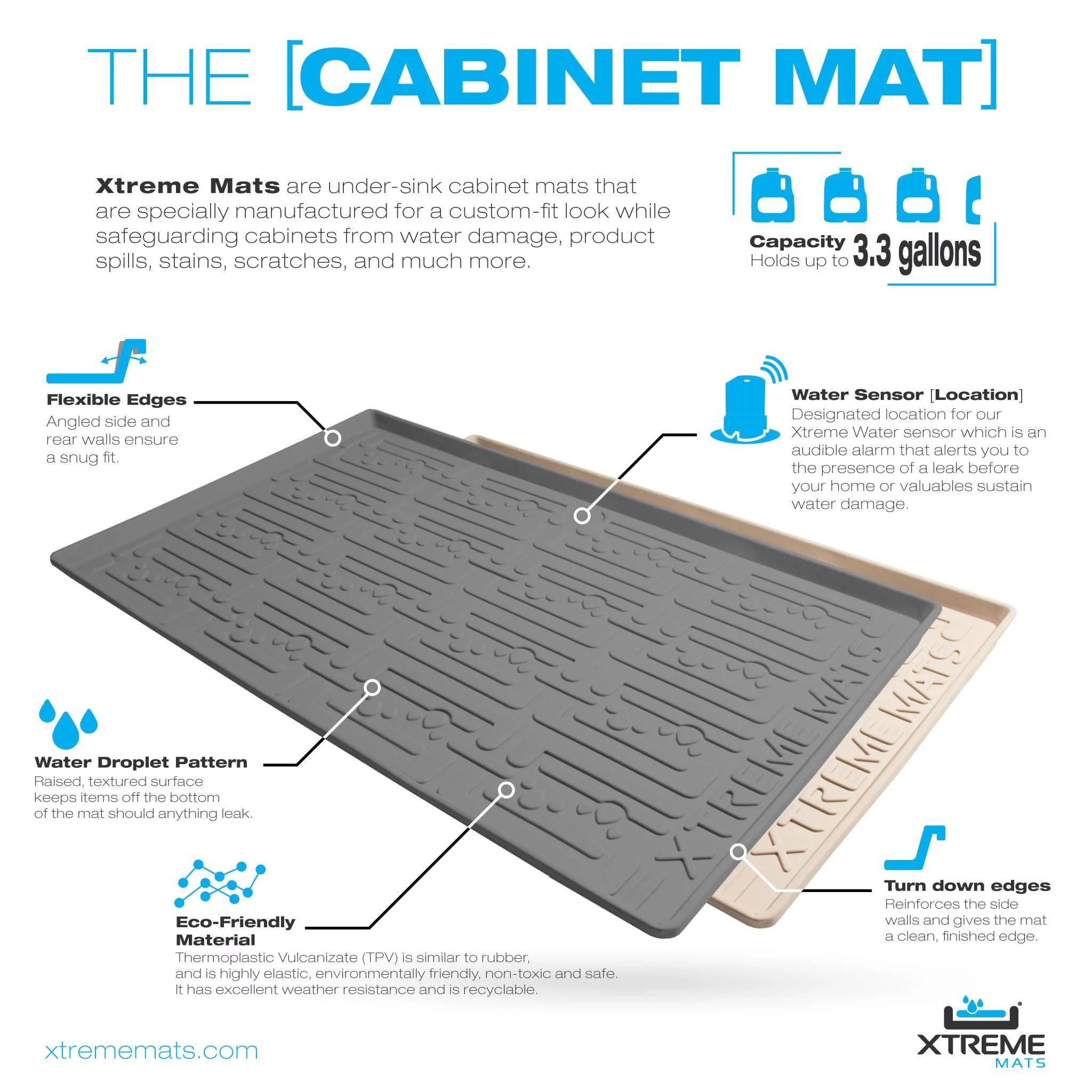 xtreme mats under sink kitchen cabinet mat 31 x 22 grey