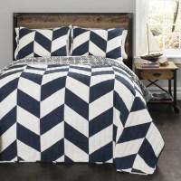 Jigsaw Chevron Navy Bedding Quilt Set - Walmart.com