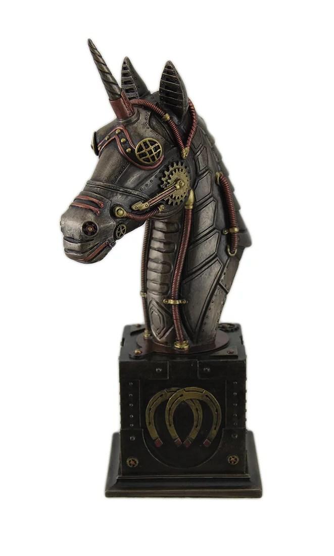 steampunk unicorn bust antique