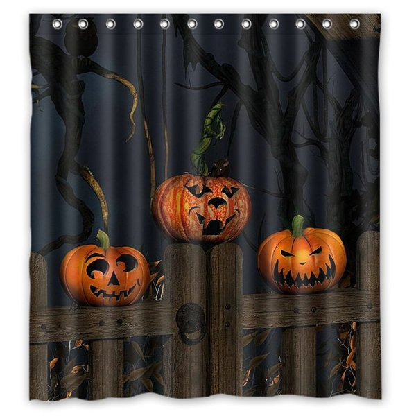 Greendecor Dead Wood Pumpkins Halloween Waterproof Shower