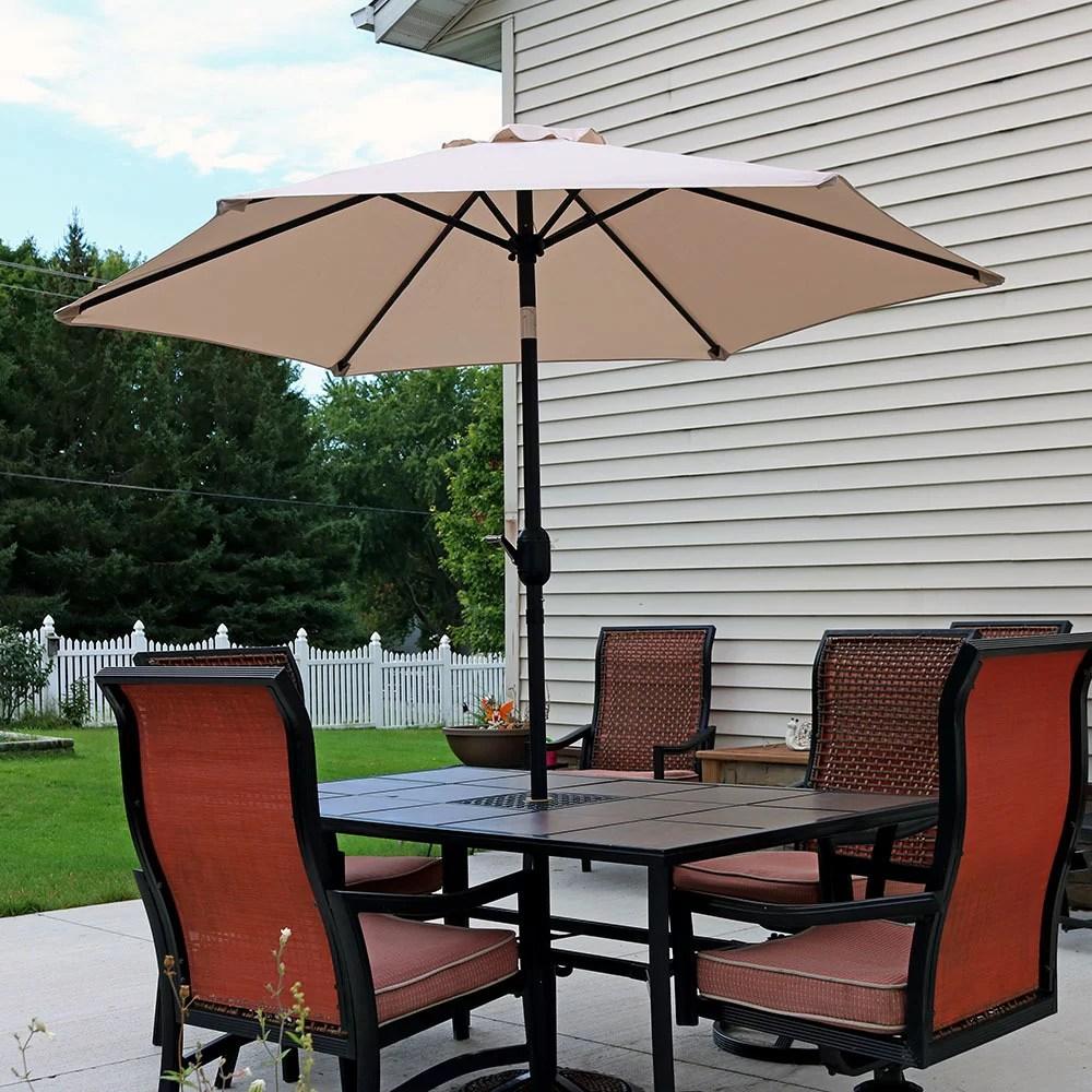 sunnydaze 7 5 foot outdoor patio umbrella with tilt crank aluminum