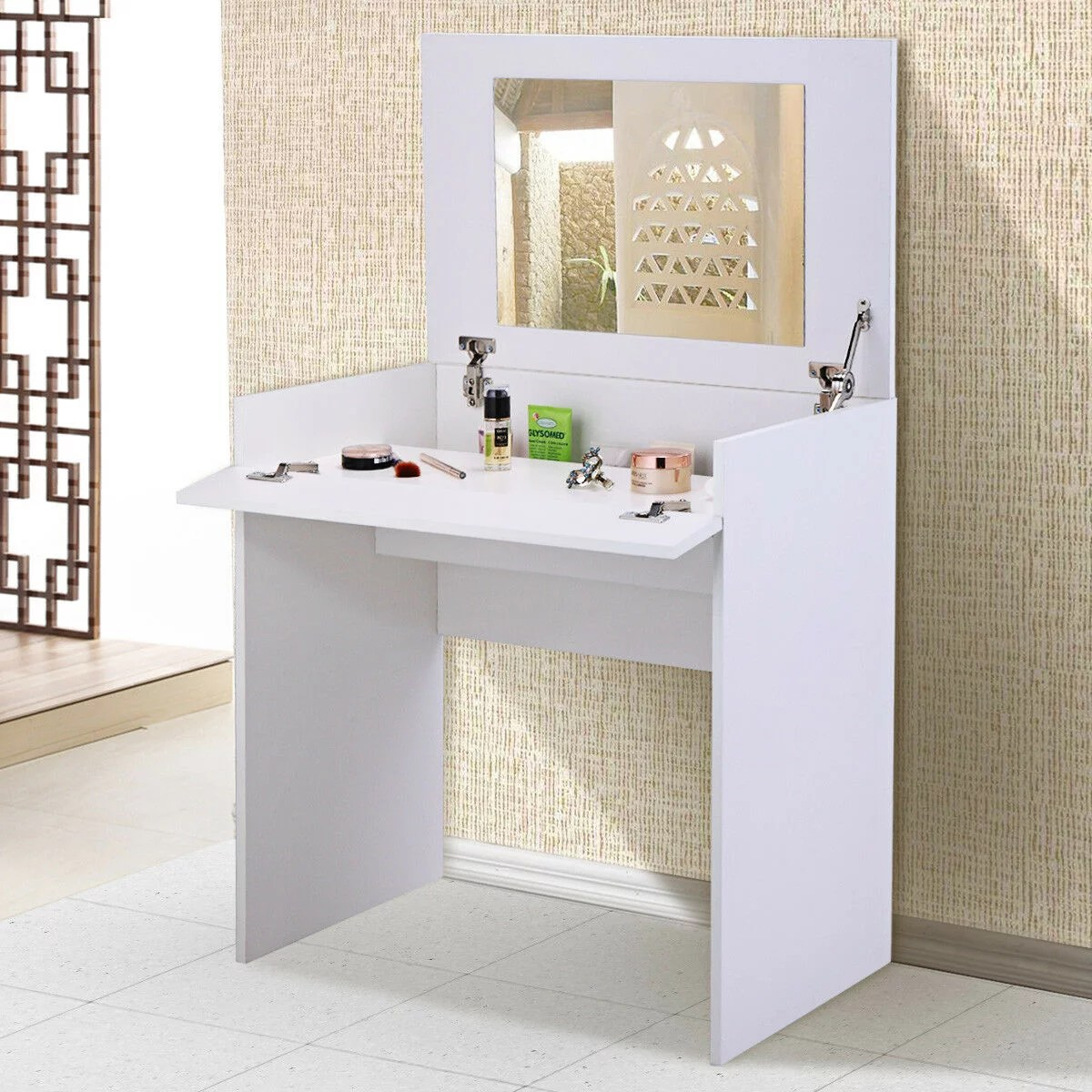veryke vanity set makeup vanity table for bedroom makeup table dressing table with flip up mirror and hidden storage box white
