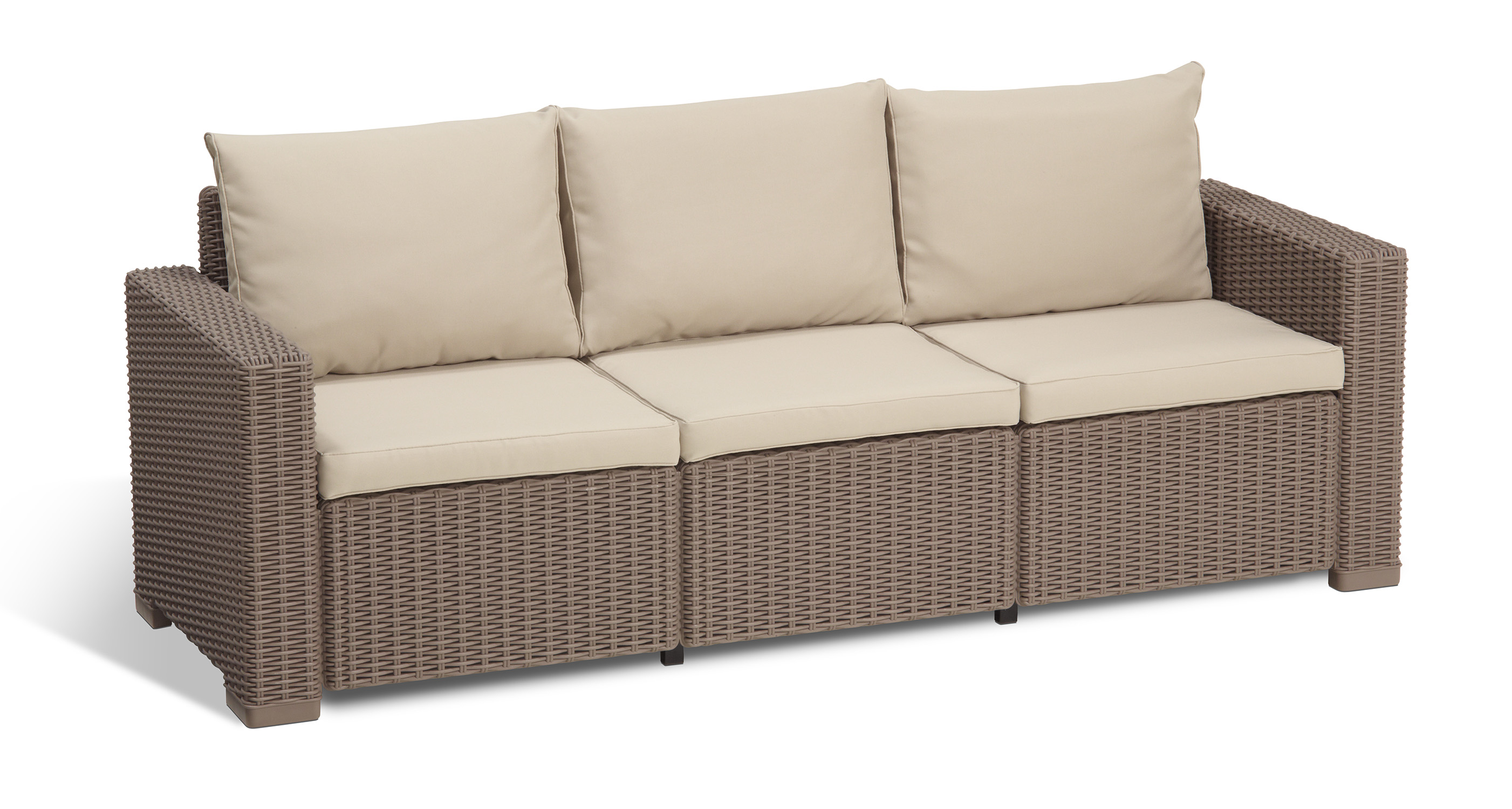 Rattan 3 Piece Sofa Keter California 3 Seater Outdoor Seating Patio Sofa In Resin Rattan Wicker With Cushions Cappuccino