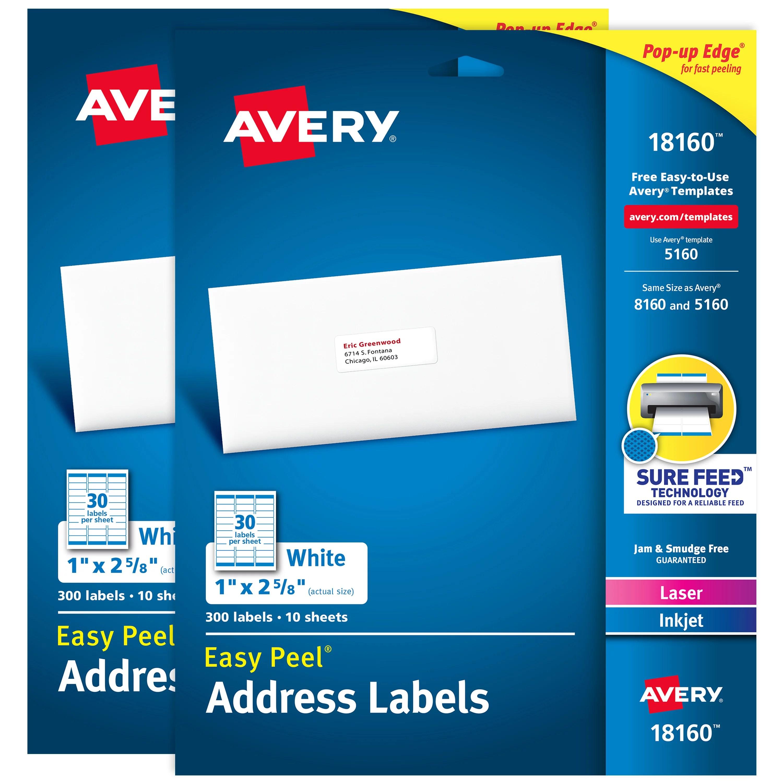 avery easy peel address labels 1 x 2 5 8 750 labels 80045