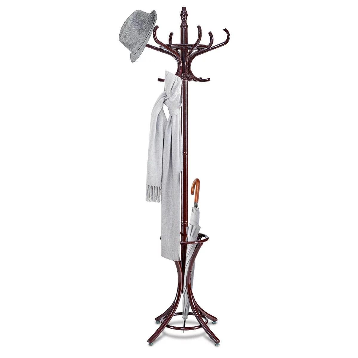 gymax wood standing hat coat rack jacket bag hanger tree 12 hooks w umbrella stand